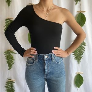 One Shoulder Long Sleeve Bodysuit